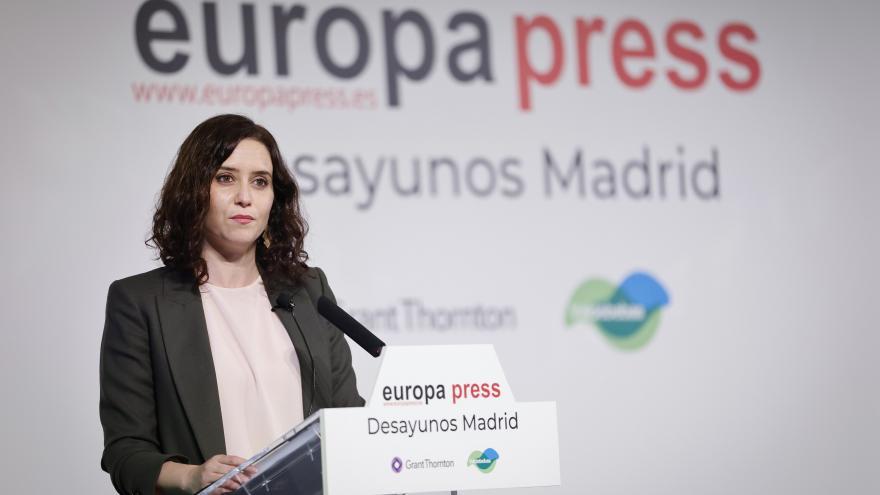 Isabel Díaz Ayuso en el desayuno de Europa Press
