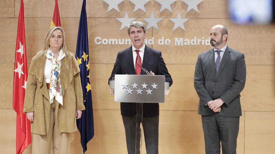 El presidente de la Comunidad de Madrid, Ángel Garrido, durante la comparecencia