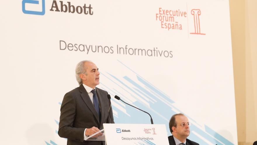 Ángel Garrido en el desayuno informativo que ha ofrecido hoy Enrique Ruiz Escudero, organizado por Executive Forum