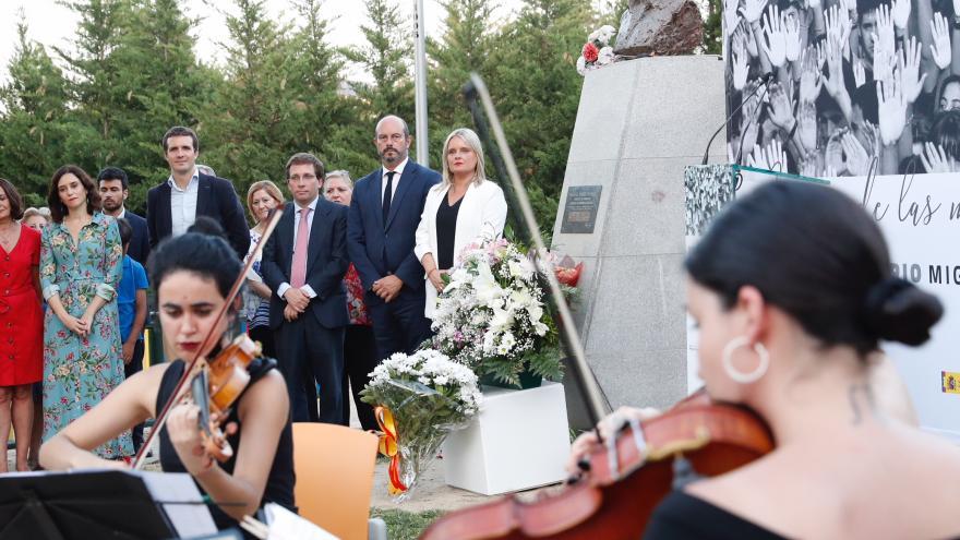 El presidente en funciones de la Comunidad de Madrid, Pedro Rollán, en el acto de homenaje a Miguel Ángel Blanco