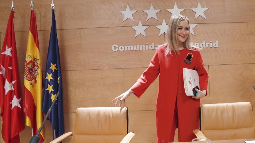La presidenta Cristina Cifuentes durante la rueda de prensa posterior al Consejo de Gobierno