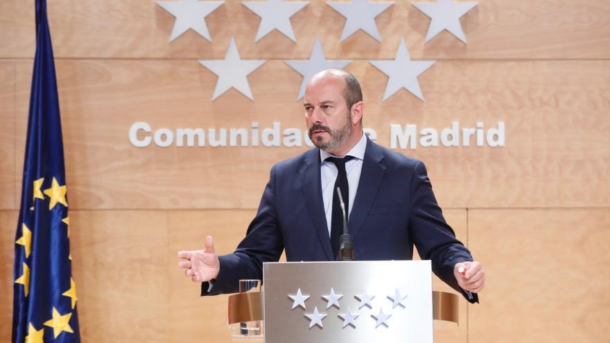 Pedro Rollán en la rueda de prensa posterior al Consejo de Gobierno