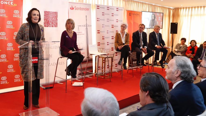 Yolanda Ibarrola durante el acto institucional organizado por el Colegio de Procuradores de Madrid con motivo del Día Internacional de la Mujer
