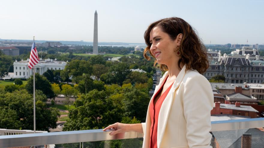 Isabel Díaz Ayuso durante su reunión con la asociación Global Americans