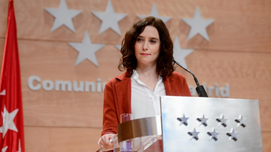 Isabel Díaz Ayuso durante su comparecencia pública