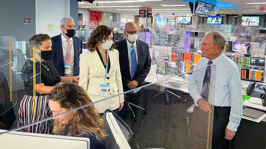 La presidenta en las instalaciones de Bloomberg en Nueva York