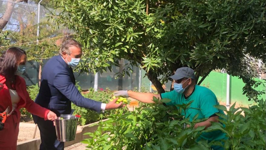 El consejero dando la mano a un trabajador que está haciendo labores de jardineria