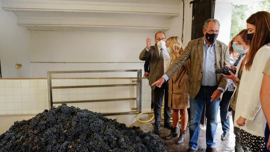 El consejero señalando un montón de uva recogida mientras habla con otro asistente a la visita