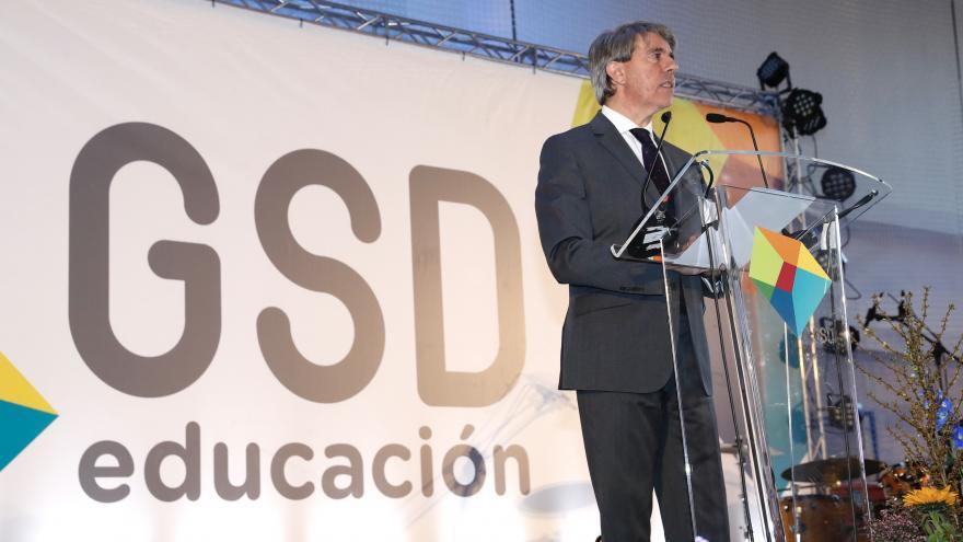 El presidente de la Comunidad de Madrid, Ángel Garrido, durante su intervención en los actos conmemorativos del 34 aniversario de la Sociedad Cooperativa Gredos San Diego