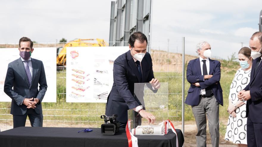 Ignacio Aguado durante la colocación de la primera piedra de las fases II y III de Madrid Content City