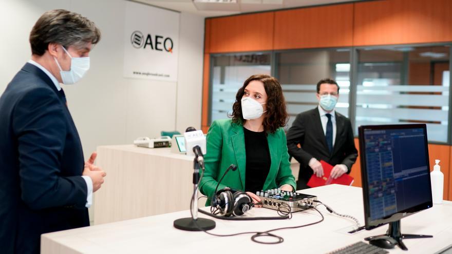 Isabel Díaz Ayuso durante su encuentro con los empresarios de la zona Sur