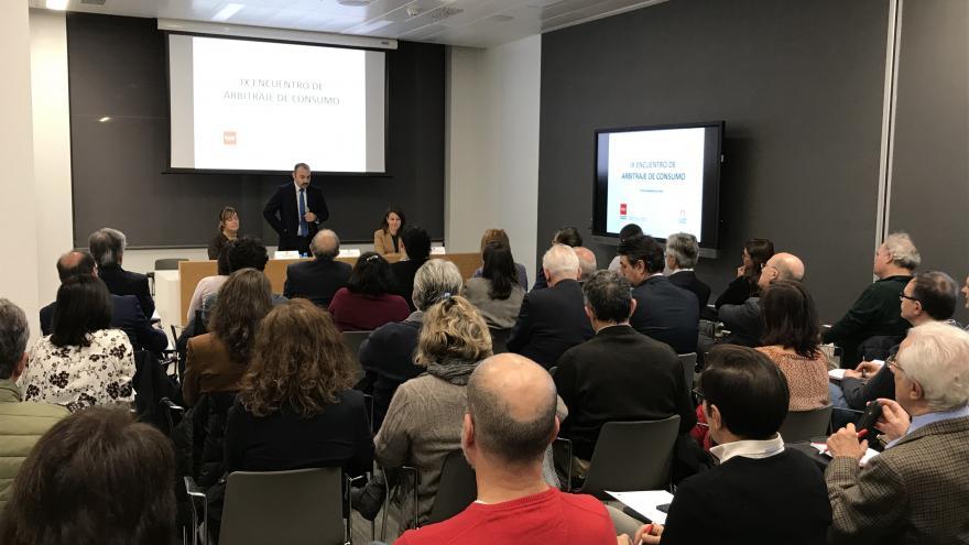 Manuel Giménez durante la inauguración del Encuentro de Arbitraje de Consumo 2019