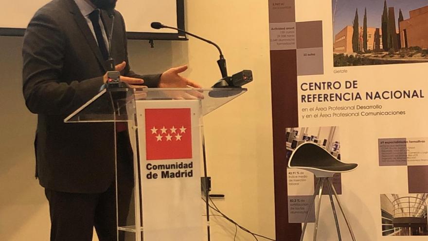 Manuel Giménez durante la presentación de la oferta 2020-2021 de los cinco Centros propios de Formación Profesional para el Empleo
