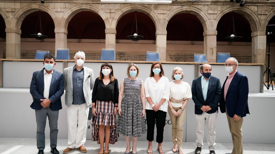 Marta Rivera durante la inauguración de la exposición Ídolos, miradas milenaria