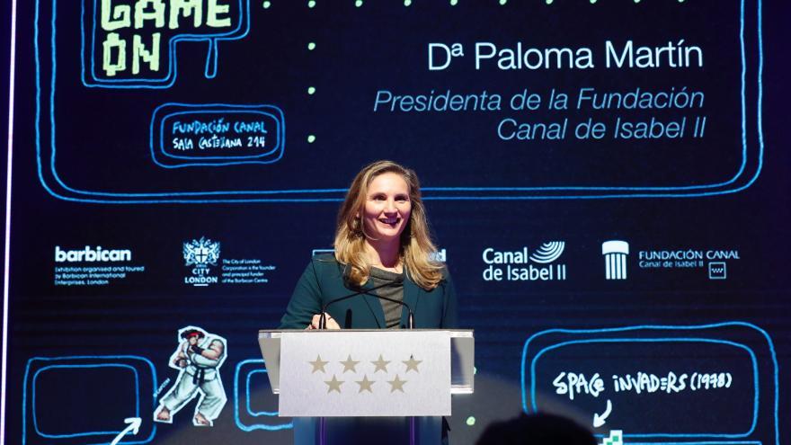 Paloma Martín durante la inauguración de la exposición Game On