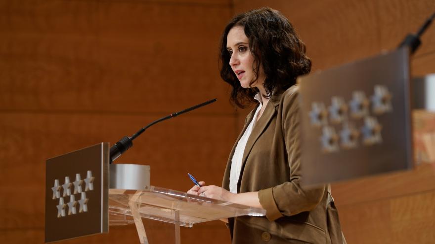 Isabel Díaz Ayuso durante la presentación del Plan Recuperación COVID19