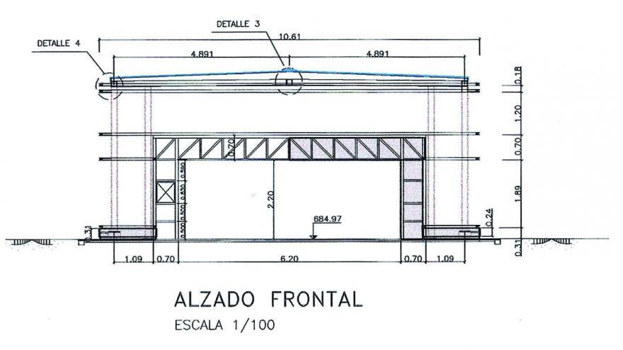 Alzado frontal templete Metrosur