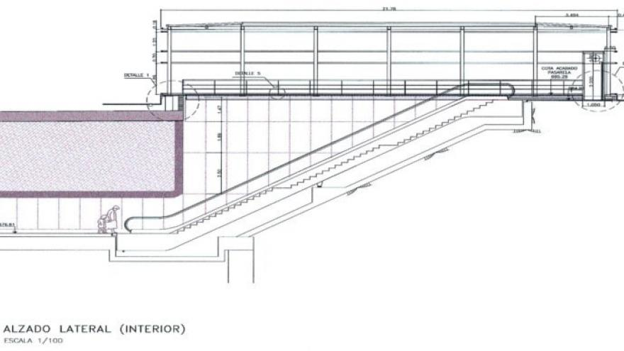 Alzado lateral (interior) templete Metrosur