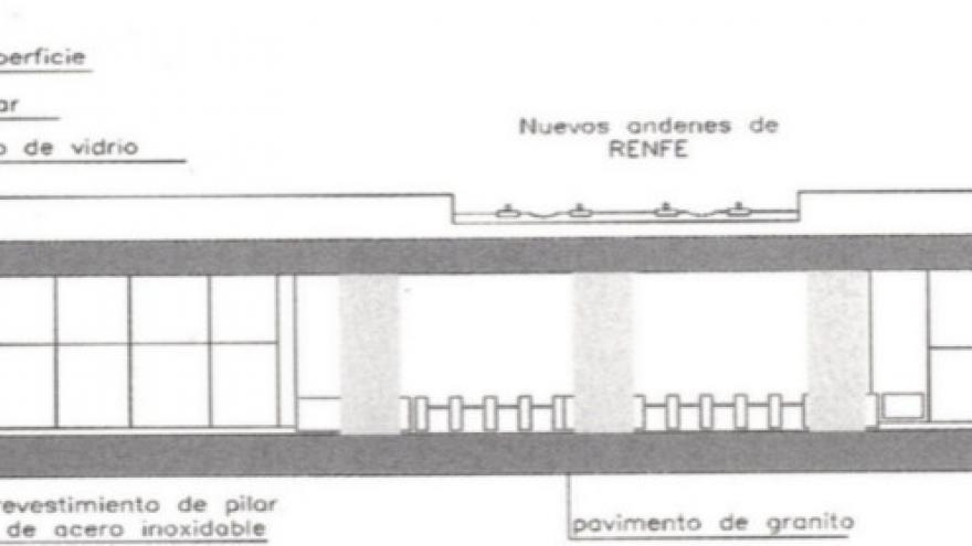 Sección longitudinal estación tipo, materiales