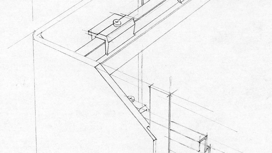 Fijación oculta del panel Trespa, detalle constructivo