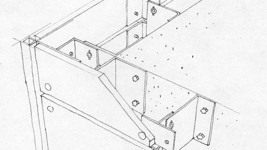 Fijación de trespa con tornillería, detalle constructivo