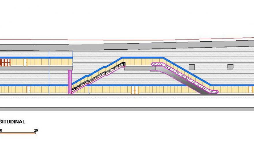 Sección longitudinal de la estación La Almudena