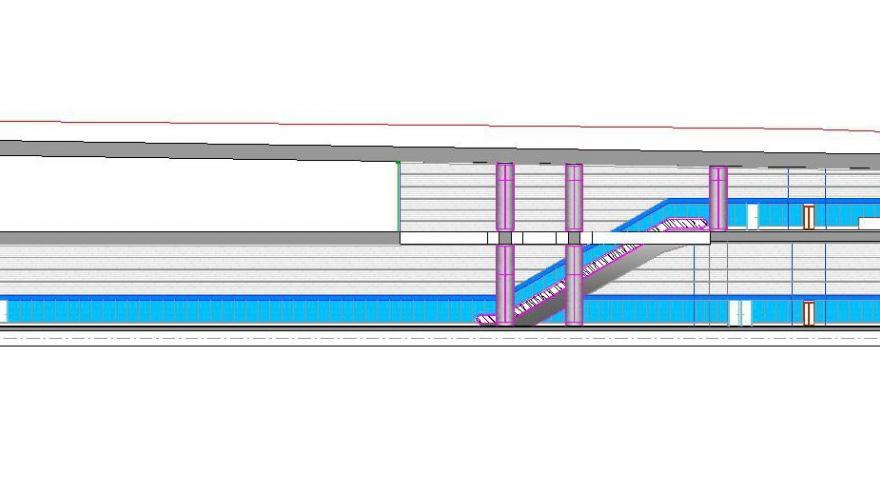 Sección longitudinal estación Alsacia
