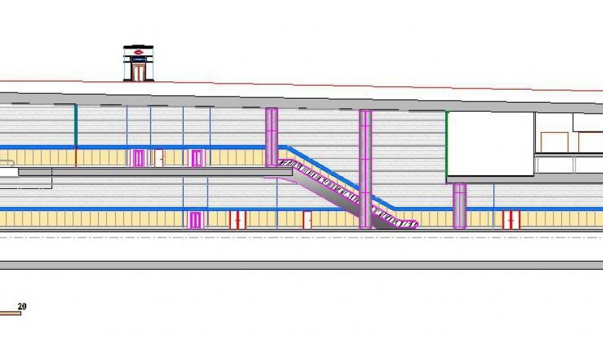 Sección longitudinal Estación Las Rosas