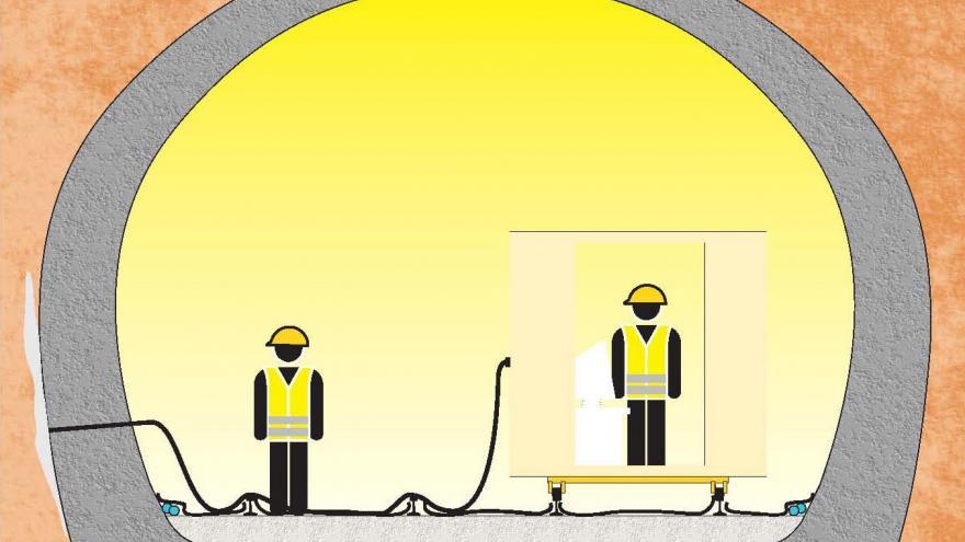 Consolidación del túnel, fase 5, inyección de mortero de cemento