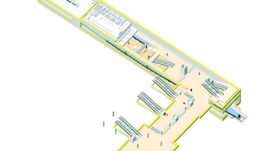 Axonometría de la estación de Villaverde Alto, Nivel de vestíbulo de conexión con Cercanías