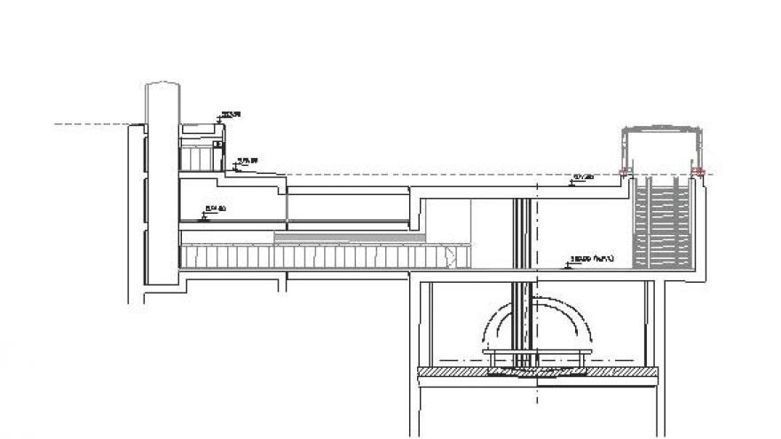 Esquema de la sección longitudinal estación Almendrales