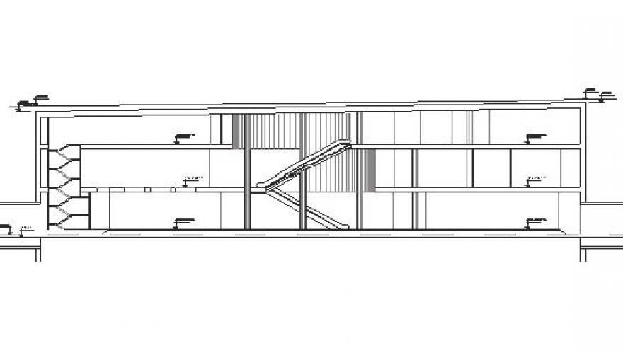 Sección longitudinal de la estación San Fermín-Orcasur