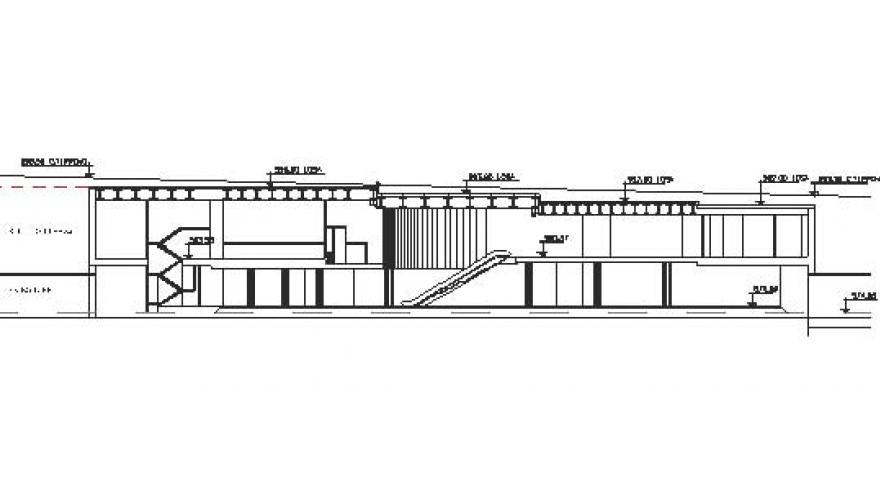 Sección longitudinal de la estación San Cristóbal