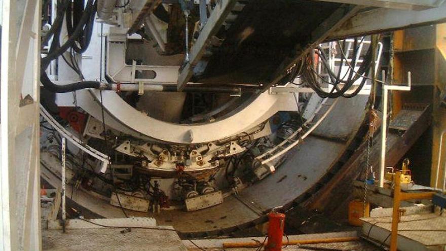 Detalle del interior del escudo de la tuneladora Mitsubishi-NFM La Adelantada