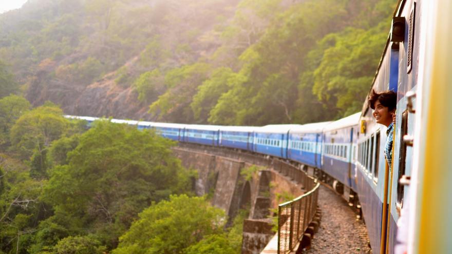 Tren pasando en un paisaje verde con una chica asomándose