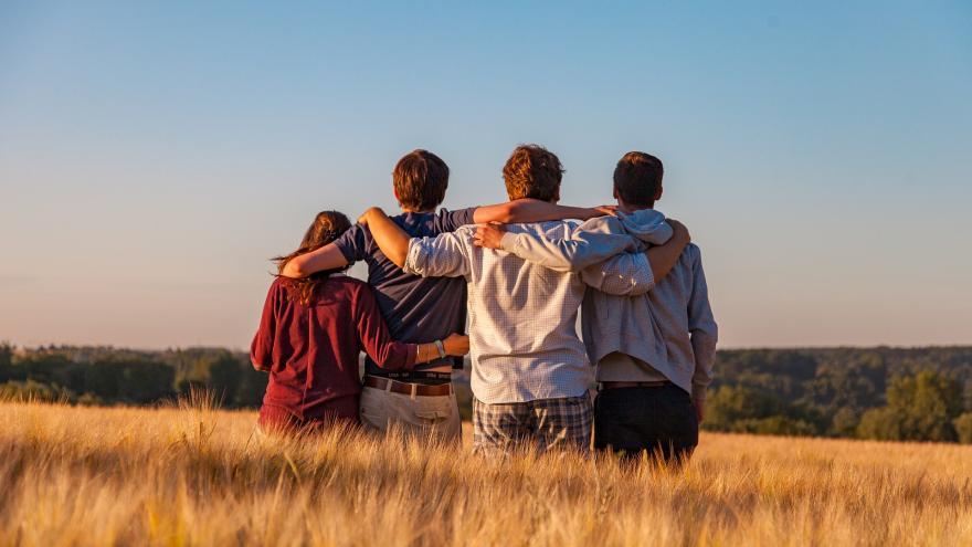 4 jóvenes de espaldas observando la puesta del sol