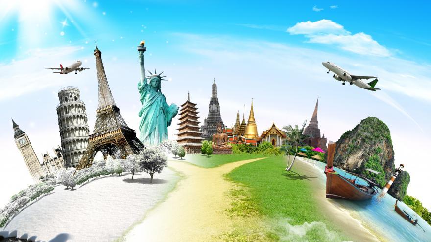 Dibujo con algunos de los principales monumentos turísticos del mundo: la Torre Eiffel, la Estatua de la Libertad, la Torre de Pisa, etc.