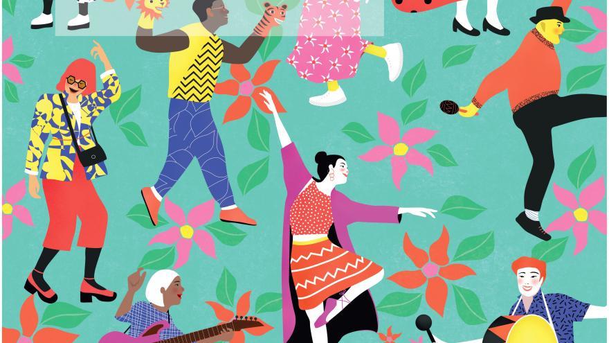 Personajes bailando sobre un fondo azul