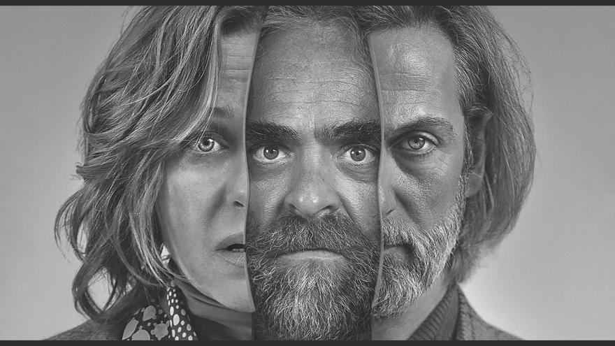imagen en la que se ve las caras unidas de los tres protagonistas de Ventajas de viajar en tren