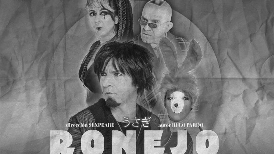 imagen del cartel de la obra de teatro Ronejo en la que se ve a sus tres personajes y a un conejo