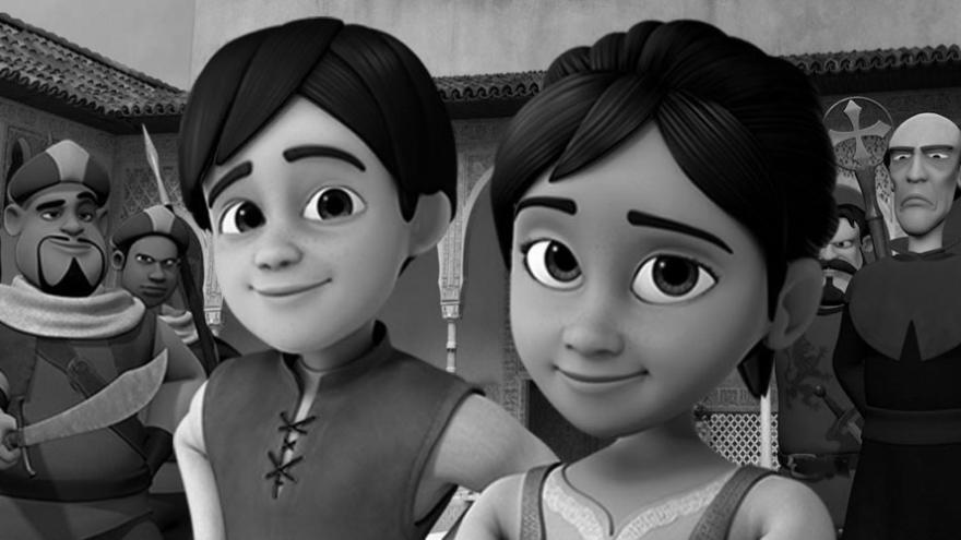 imagen de la película de dibujos Azahar donde se ven las caras de la chica y chico protagonistas