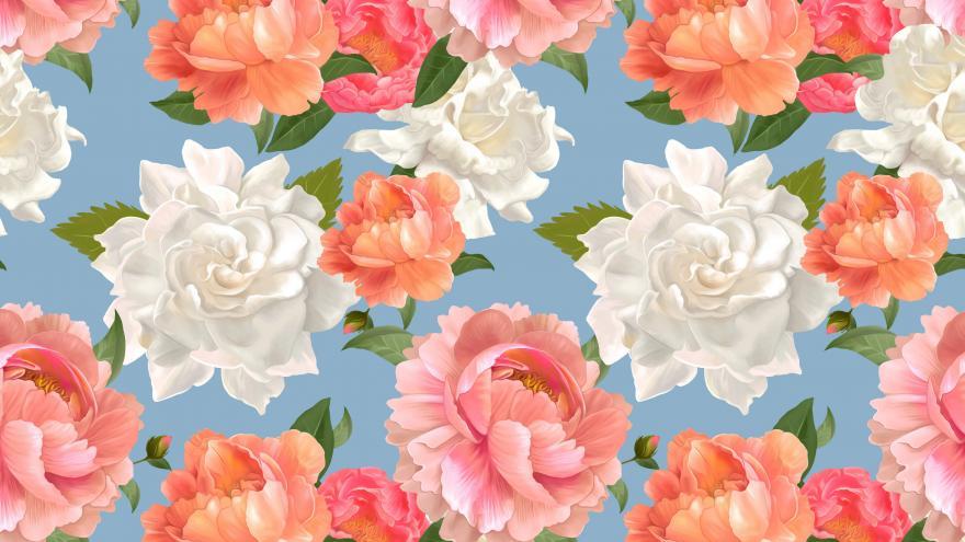 Trama de rosas de colores sobre fondo azul