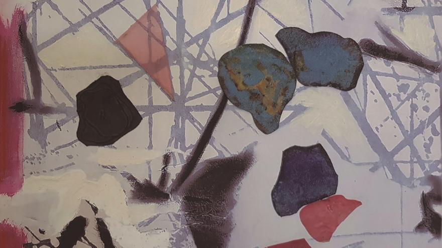 Lienzo con manchas abstractas en color