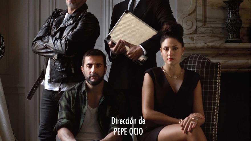 imagen del cartel de la Herencia en la que se ven a dos actores sentado y dos de pie posando