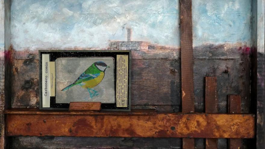 imagen de una obra de la exposición en la que se ve un pájaro