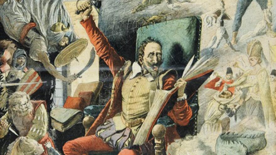 Ilustración de don Quijote sentado en un sillón, leyendo mientras levanta una mano con una espada y está rodeado de varios personajes que le observan