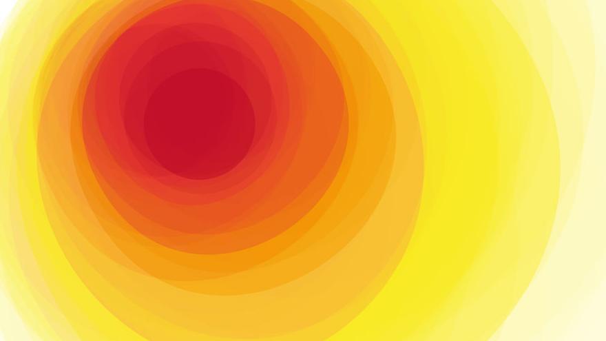 Círculo en tonos amarillos y naranjas con forma de sol
