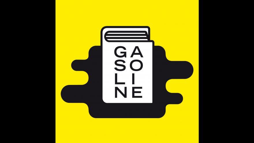 Dibujo de un libro en el que se lee GASOLINE sobre una mancha negra y un fondo amarillo