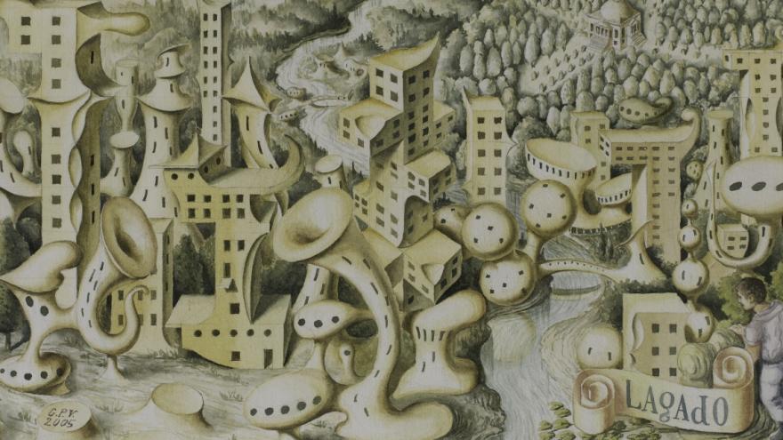 Dibujo de una ciudad imaginaria