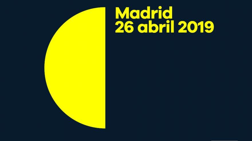 Logotipo La Noche de los Libros (semicírculo amarillo sobre fondo azul oscuro)